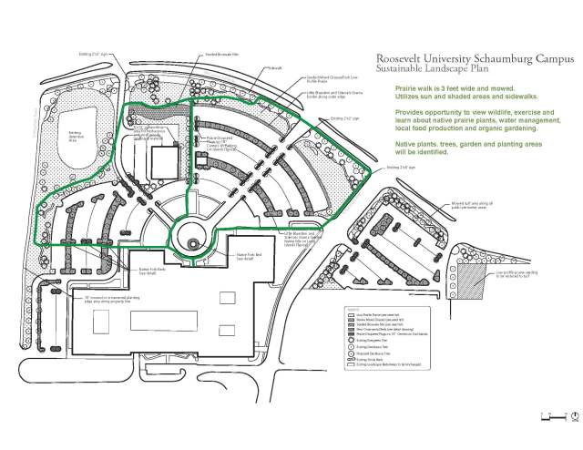 The Schaumburg Campus now features a marked hiking trail that winds through campus and features views of the wetland, prairie restoration, and community garden. Educational signage will be installed during late summer 2013.