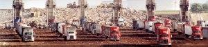 Landfill and trucks