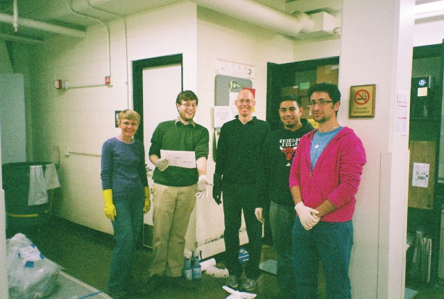 The SUST 240 Waste Audit team: Laura, Tom, Ken, Reece, and Travis (photo: M. Bryson)