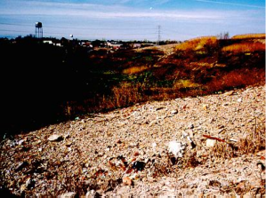 The Chicago Heights water tower shows the close proximity of the poorly capped landfill to the city (Source: IL EPA – Abandoned Landfills)