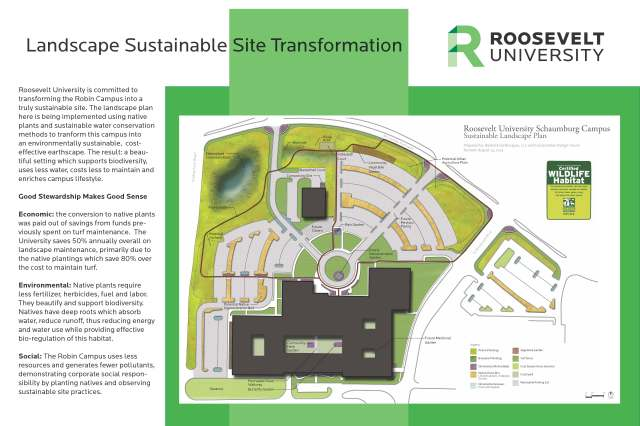 Map view of the Landscape Transformations to date at the Sch Campus of RU (text by SUST major and sustainability intern MB Radeck)