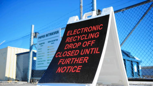 The Orland Township electronics recycling drop-off site is closed. Last year, a half-million pounds of electronics were recycled.  (Photo: Gary Middendorf, Daily Southtown)