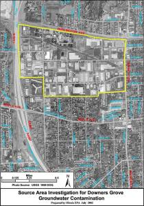 Map of Ellsworth Industrial Site in Downers Grove IL (EPA)