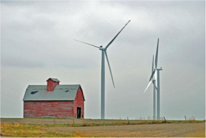 A wind farm in rural McLean County, Illinois (Photo by Tim Lindenbaum via Creative Commons)